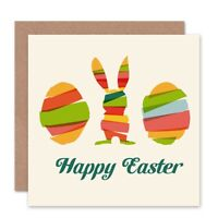 Happy Easter Bunny Egg Abstract Easter Rabbit Blank Greeting Card With Envelope