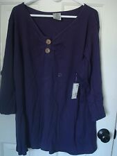 Avenue Stella Henley Top Shirt Blouse Plus Size 26/28 4x Purple NWT