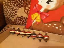 Vintage 7 x Christmas Baubles Decorations Mercury Glass concave handpainted