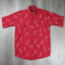 Vintage Mens Versace Classic Crepe Style Shirt XL 90s Spell Out Red Medusa