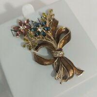 Vintage 70's MONET Enamel Rhinestones Flower Bouquet Brooch Lapel Pin