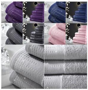 Premium Quality Egyptian Cotton Bath Hand Face Towels 600Gsm Bath Sheet Diamante