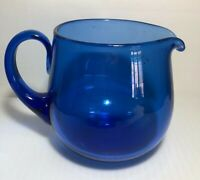 Vintage Cobalt Blue Glass Pitcher Hand Blown - Heavy Bottom REALLY NICE!!