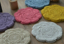 "Dozen Hand Crochet 8"" Round Small Doilies Set Floral Mixed Lot"