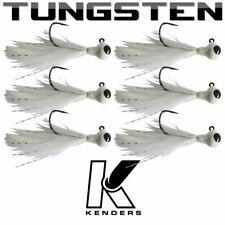 (6 pack) Tungsten Feather Panfish Jig - WHITE - 1/16 oz - #2 Hook