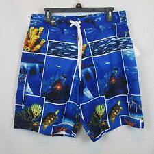 Guy Harvey Mens Swim Suits Trunks Size 32 Sea Blue Sea Print Draw String NWT $50