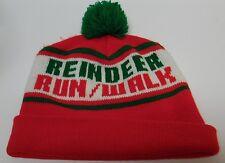 CHRISTMAS REINDEER RUN WALK Marathon RED GREEN WINTER SKI SNOW POM STOCKING CAP