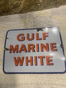 "Scarce ""GULF"" MARINE WHITE Porcelain Pump Plate"