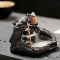 Dragon Incense Burner Smoke Backflow Ceramic Glaze Censer Stick Cone Plate NEW