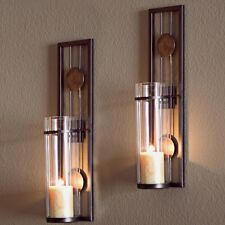 Contemporary Metal Brown Wall Candle Holder Sconce Lantern Home Decor 2 Packs