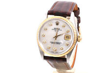 Rolex 34mm 18K/SS Date - Mother Of Pearl Diamond Dial - Leather Strap - MINT