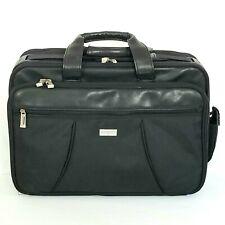 US Luggage New York Large Black Briefcase Laptop Bag Organizer Retractable Strap
