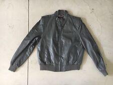 Rare Bermans Grey Leather Cafe Racer Moto Jacket Biker Bomber 44 Liner