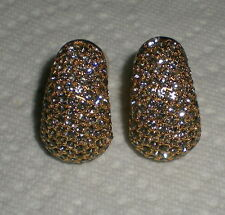SIGNED CINER BLACK DIAMOND RHINESTONE HOOP CLIP EARRINGS