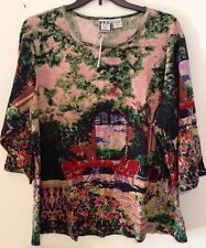 Take Two Plus Size Women 3X Christmas Xmas Garden Top Floral Red Pink Nwt Rtl 36