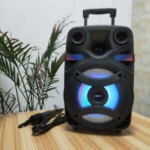 "Portable Wireless Bluetooth Speaker Rechargeable LED Trolley Party Speaker 8"""