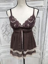 Size S XS BEBE Chocolate Brown Silk Swingy Babydoll Tank Top Cami Ruffle Crinkle