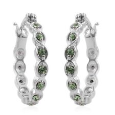 GREEN APPLE STAINLESS STEEL HYPOALLERGENIC HOOP EARRINGS WITH SWAROVSKI CODE