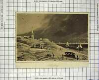 Original Old Antique Print C1800 View Scheveling Boats Church Engraving 19th