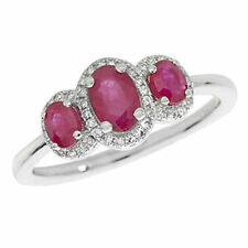Unbranded Ruby Three-Stone Fine Rings