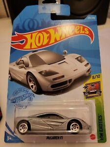 Hot Wheels 2021 McLaren F1 *235/250 HW Exotics *8/10 GRX57 Silver  Long Card