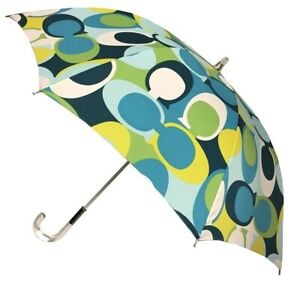 Coach Green Scarf Print Stick Umbrella Lucite Handle and Shaft NWT MSRP $148.00