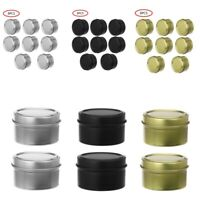 8Pcs Wax Making Candle Tin Metal Case Jewelry Container Storage Jars Box w/Lid
