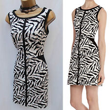 Karen Millen DS125 Cotton Zebra Print Cocktail Holiday Shift Mini Dress UK 8
