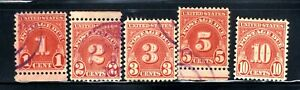 US POSTAGE DUE 1,2,3,5 & 10 Cent SC#D3 5-STAMP SET