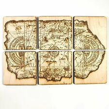 One Eyed Willie Treasure Map Wood Coaster Set 4x4in Raw Wood