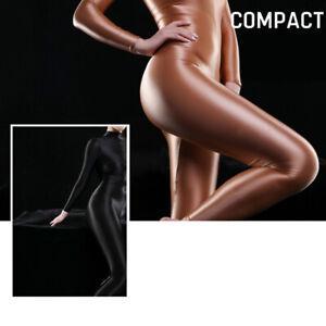 Women Ultra Shiny Bodysuit Sexy Bodysuit 2-Way Zipper Catsuit Leotard AU STOCK