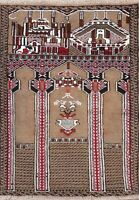 Geometric Balouch Brown Pictorial Area Rug Wool Hand-Knotted Oriental Carpet 3x3