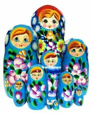 Rosetta 10-Piece Turquoise Floral Painted Wooden Huge Babushka Nesting Toy Doll
