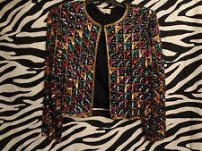 Laurence Kazar  Beaded Formal Jacket  CROPPED Cocktail VINTAGE MULTICOLOR  /B9
