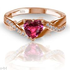 18k Rose Gold Plated Simulated Heart Cut Red Ruby Diamond Infinity Ring