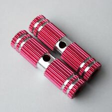 "1 Pair 2.67"" Deluxe Red Small Gear-Style Striated Bike Foot Pegs Fixtures"