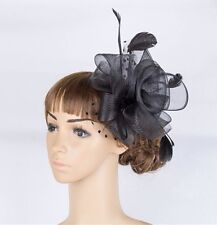 Fascinator Hat Wedding Sinamay Black Netted & Feathered on ClipBrand New - UK