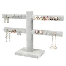 Gray velvet Jewelry Display Shelf Earrings Ring Holder Stud Storage Rack Stand