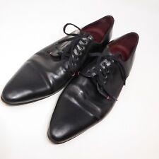 Poste Men Black Leather Lace-Up Dress Formal Shoe Size 8.5 EU 42 Pointy