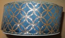 """Lot of 5 Yards   Wire Edge Ribbon 2 1/2"""" wide Blue with Gold Glitter Design"""