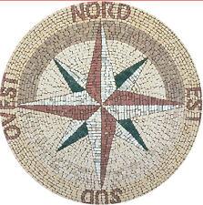 mosaico in marmo  con scritte dei punti cardinali DIAM 100 COD.16