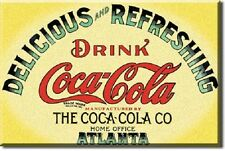 COKE DRINK COCA COLA DELICIOUS & REFRESHING ATLANTA Vintage Tin Sign Magnet USA