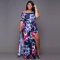 Women Body Con Plus Size Clubwear Playsuit Dress Jumpsuit Romper Short Trousers
