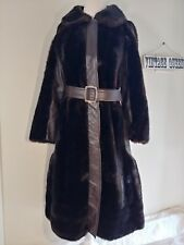 Vintage Tissavel  Brown Fake Faux Vegan Fur Leather Coat Trench Belted Medium