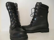 "Lugz Mens Kahn Nubuck 10"" Hiking Biker Motorcycle Lace Up Boots Black Size 9 M"