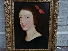 Ancienne peinture portrait jeune  femme dame de qualté  17eme ? 18eme siècle ?
