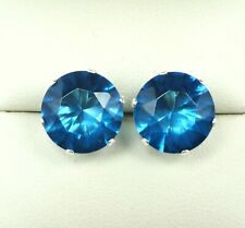 LONDON BLUE TOPAZ 925 STERLING SILVER STUD EARRINGS  CREATED SIMULATED STONE