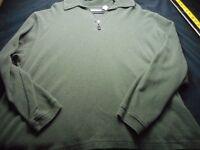 Turnbury Moss Green Xl Cotton 1/4 Zip Soft Long Sleeve Men's Shirt