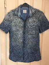 River Island Blue Cheetah Trendy Party Shirt XS