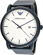 NEW Emporio Armani Blue S/Steel Mesh Strap White 43mm Watch AR11025 Men's Watch